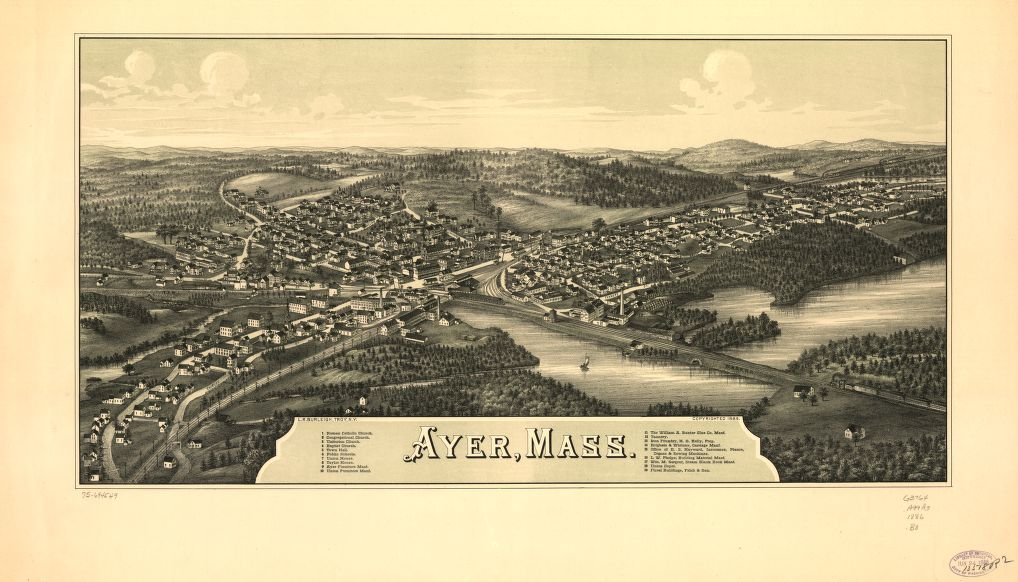 8 x 12 Reproduced Photo of Vintage Old Perspective Birds Eye View Map or Drawing of: Ayer, Mass.  Burleigh, L. R. (Lucien R.) - Burleigh, L. R.  1886