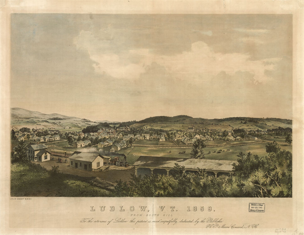 8 x 12 Reproduced Photo of Vintage Old Perspective Birds Eye View Map or Drawing of: Ludlow, Vt. 1859 From south hill / lith. of Endicott & Co., N.Y. W. Endicott & Co. 1859