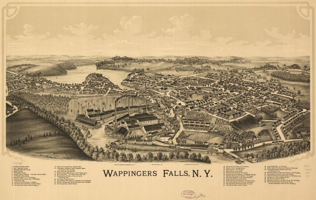 8 x 12 Reproduced Photo of Vintage Old Perspective Birds Eye View Map or Drawing of: Wappingers Falls, N.Y. Burleigh, L. R. (Lucien R.) - Burleigh Litho - Burleigh, L. R. 1889