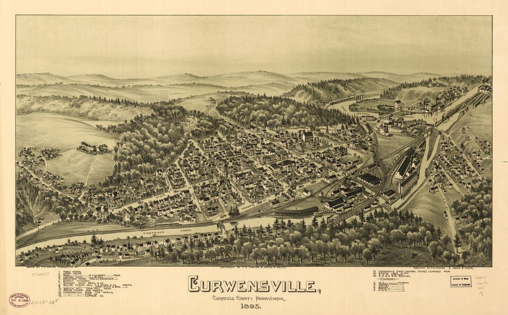 8 x 12 Reproduced Photo of Vintage Old Perspective Birds Eye View Map or Drawing of: Curwensville, Clearfield County, Pennsylvania 1895. Fowler, T. M. - Moyer, James - Fowler, T. M. 1895