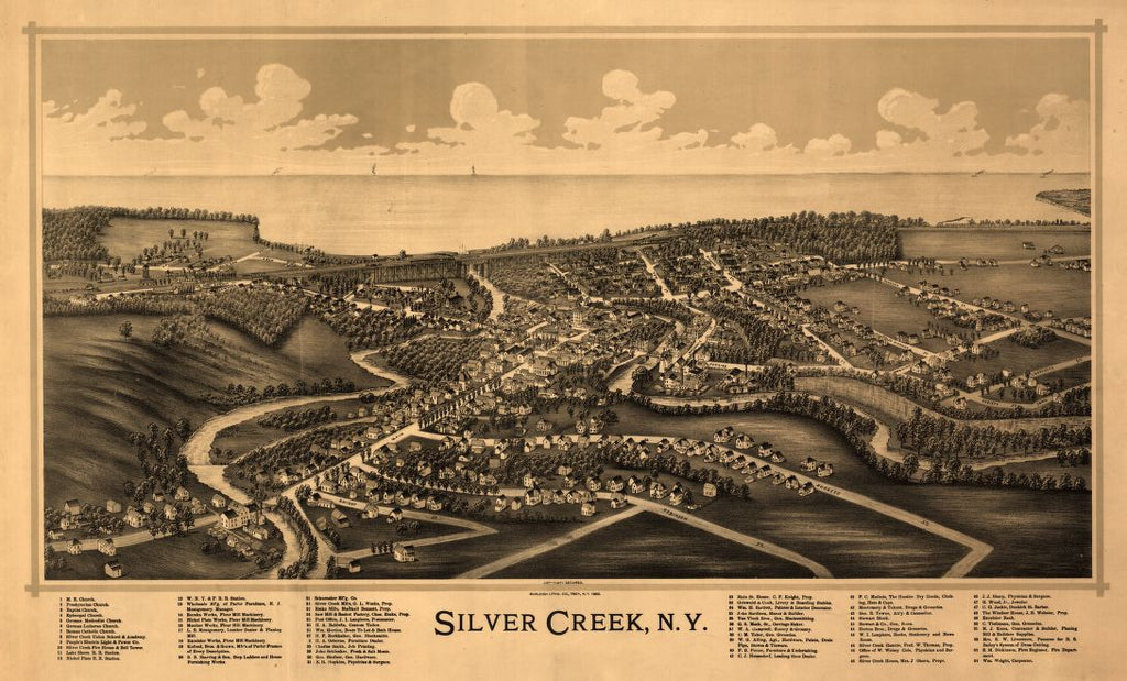 8 x 12 Reproduced Photo of Vintage Old Perspective Birds Eye View Map or Drawing of: Silver Creek, N.Y. Burleigh Litho 1892