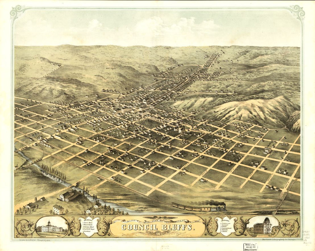 8 x 12 Reproduced Photo of Vintage Old Perspective Birds Eye View Map or Drawing of: Council Bluffs, Pottawattamie Co., Iowa 1868. Ruger, A. 1868