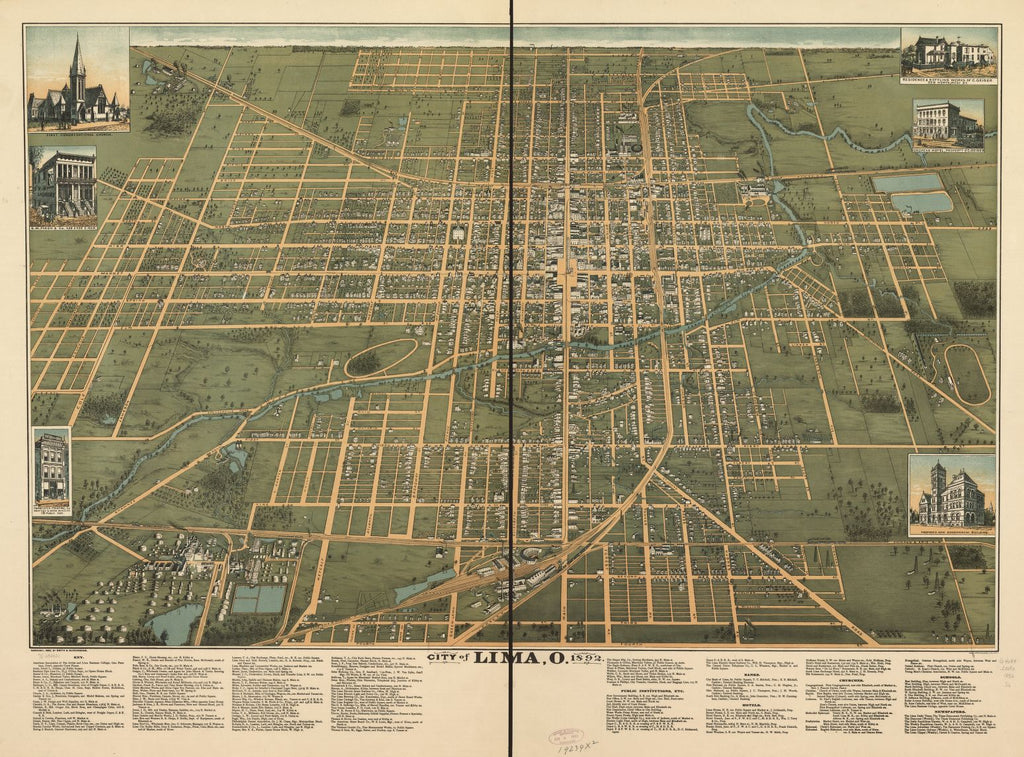 8 x 12 Reproduced Photo of Vintage Old Perspective Birds Eye View Map or Drawing of: Lima, O. 1892. Smith & Buckingham. c1892