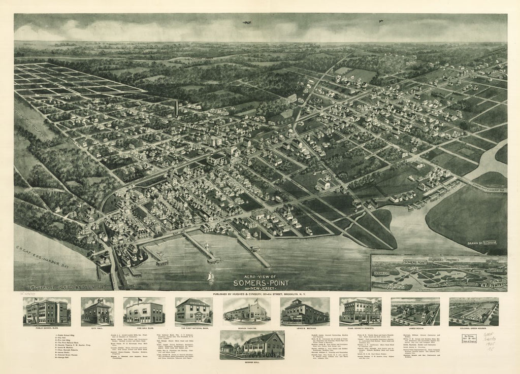 8 x 12 Reproduced Photo of Vintage Old Perspective Birds Eye View Map or Drawing of: Somers-Point 1925, New Jersey. Cinquin, Rene - Hughes & Cinquin 1925