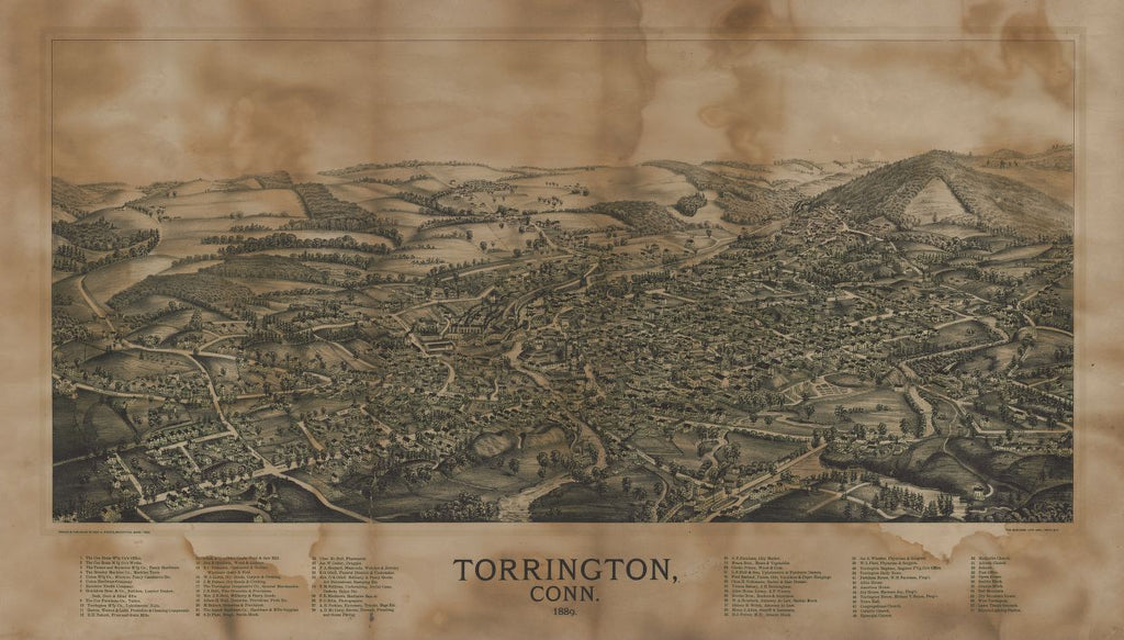8 x 12 Reproduced Photo of Vintage Old Perspective Birds Eye View Map or Drawing of: Torrington, Conn. : 1889  Norris, George E. - Burleigh Litho  1889