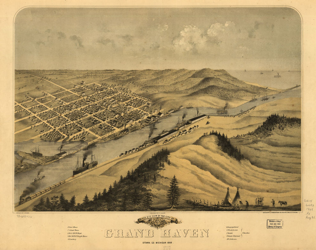 8 x 12 Reproduced Photo of Vintage Old Perspective Birds Eye View Map or Drawing of: Grand Haven, Ottawa Co., Michigan 1868. Ruger, A. 1868