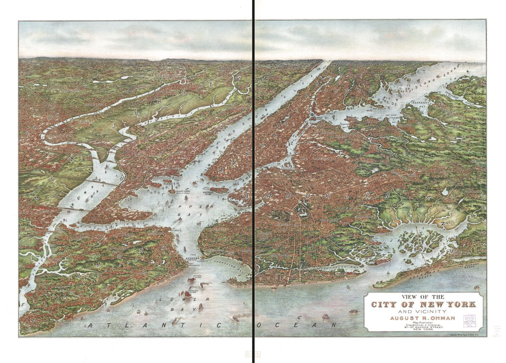 8 x 12 Reproduced Photo of Vintage Old Perspective Birds Eye View Map or Drawing of: New York and vicinity Ohman, August R. - August R. Ohman & Co. 1907
