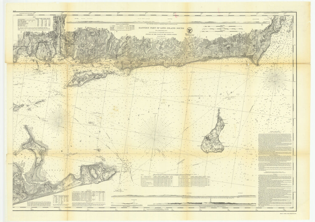 18 x 24 inch 1864 New York old nautical map drawing chart of Eastern Part of Long Island Sound From  U.S. Coast Survey x7049