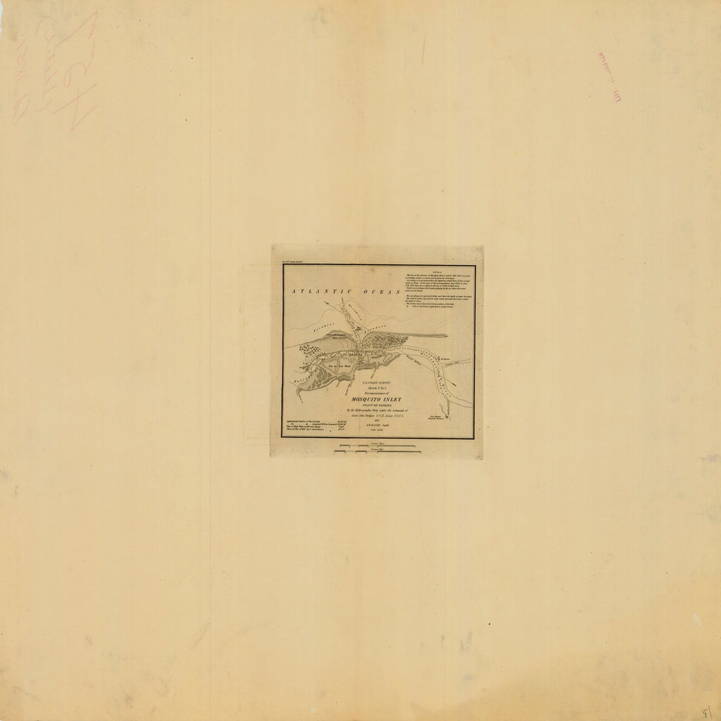 18 x 24 inch 1851 US old nautical map drawing chart of MOSQUITO INLET SKETCH From  U.S. Coast Survey x1360
