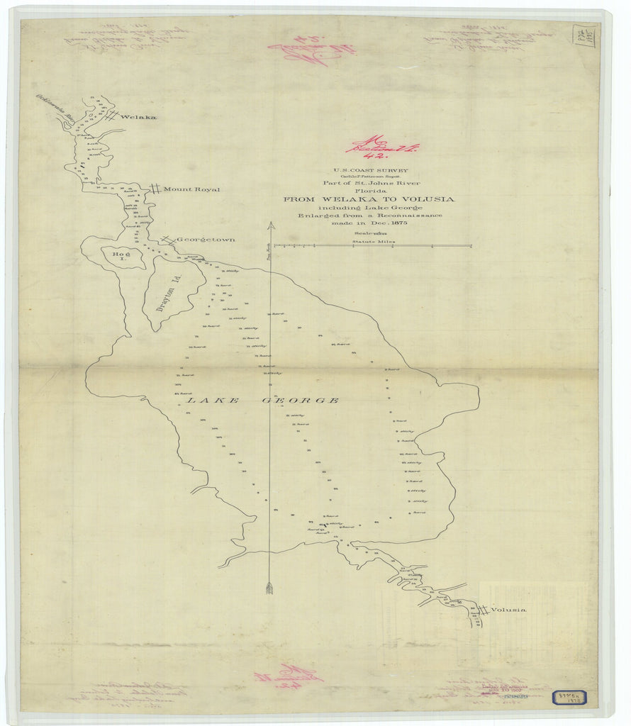18 x 24 inch 1875 US old nautical map drawing chart of Part of Saint Johns River Florida from Welaka to Volusia Including Lake George From  U.S. Coast Survey x1760