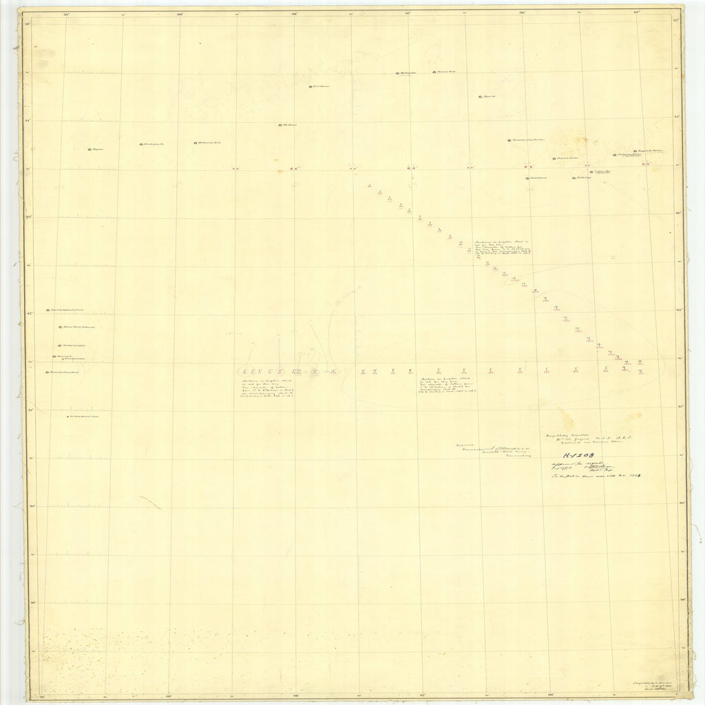 18 x 24 inch 1874 New Jersey old nautical map drawing chart of Deep Sea Soundings Off Cape Sable - Sup From  U.S. Coast Survey x7530