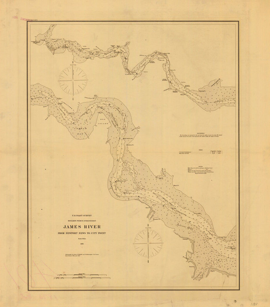 James River Us Map.1870 Virginia James River From Newport News To City Point From U S