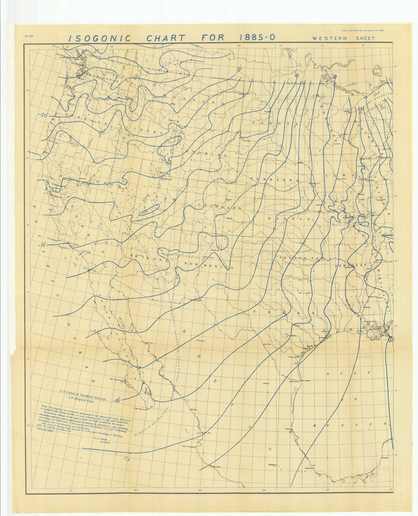 18 x 24 inch 1882 US old nautical map drawing chart of Isogonic Chart for 1885-0 Western Sheet From  US Coast & Geodetic Survey x1225