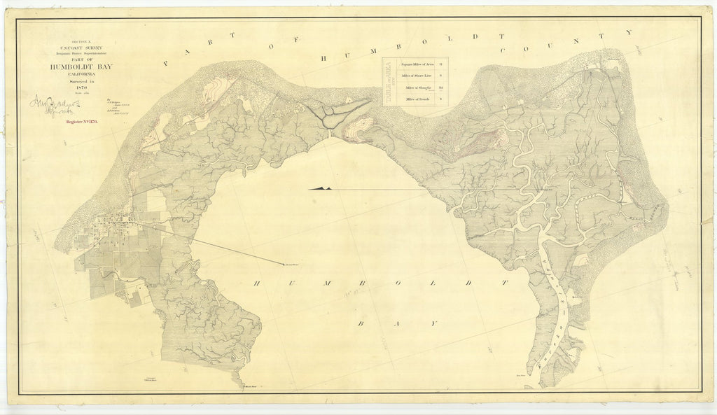 18 x 24 inch 1870 US old nautical map drawing chart of Part of Humboldt Bay From  U.S. Coast Survey x1714