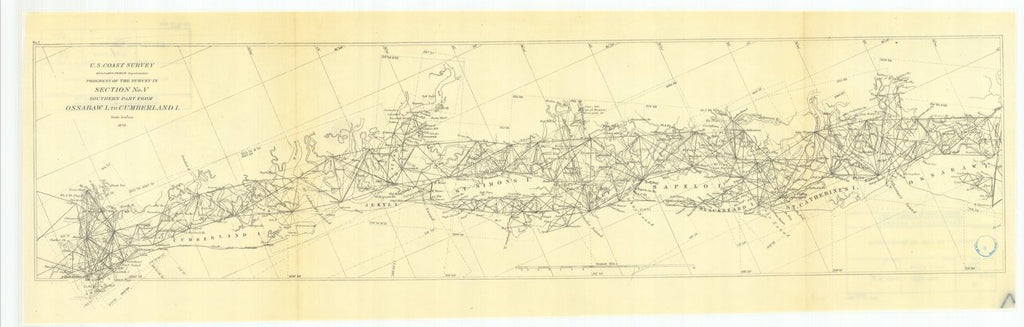 18 x 24 inch 1870 US old nautical map drawing chart of Progress of the Survey in Section #5 Southern Part from Ossabaw Island to Cumberland Island From  U.S. Coast Survey x635