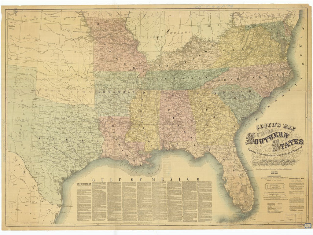 18 x 24 inch 1861 US old nautical map drawing chart of Lloyd's Map of the Southern States Showing all the Railroads Their Stations and Distances also the Counties Towns Villages Harbors Rivers and Forts From  J.T. Lloyd x1012
