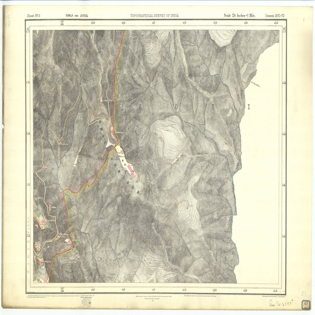18 x 24 inch 1873 OTHER old nautical map drawing chart of Topographical Survey of India Simla and Jutog From  Surveyor General's Office x7261