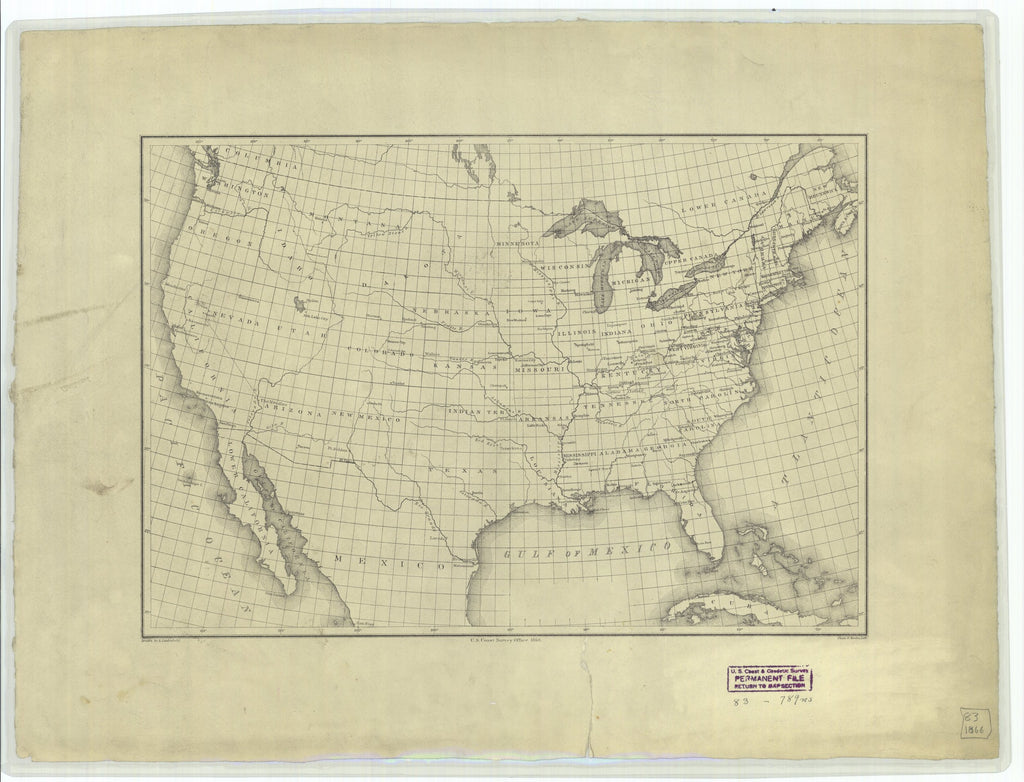 18 x 24 inch 1866 USA old nautical map drawing chart of Map of the United States From  U.S. Coast Survey x12133