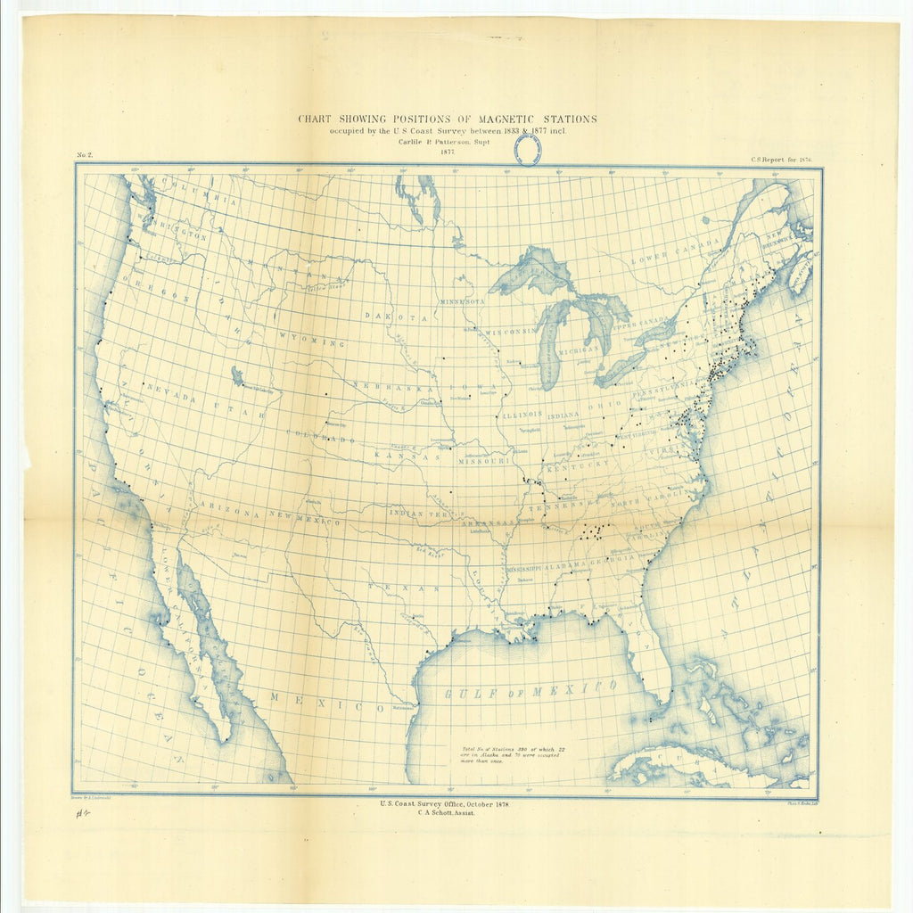 18 x 24 inch 1878 US old nautical map drawing chart of Chart Showing Positions of Magnetic Stations Occupied by the U.S. Coast Survey Between 1833 and 1877 From  U.S. Coast Survey x2287