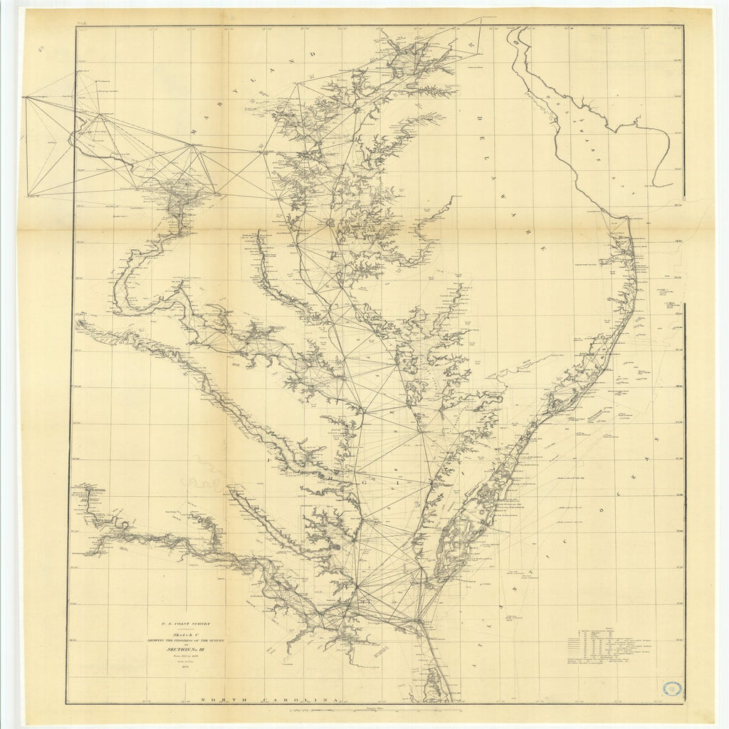 18 x 24 inch 1875 US old nautical map drawing chart of Sketch C Showing the Progress of the Survey in Section Number 3 from 1843 to 1875 From  U.S. Coast Survey x1926