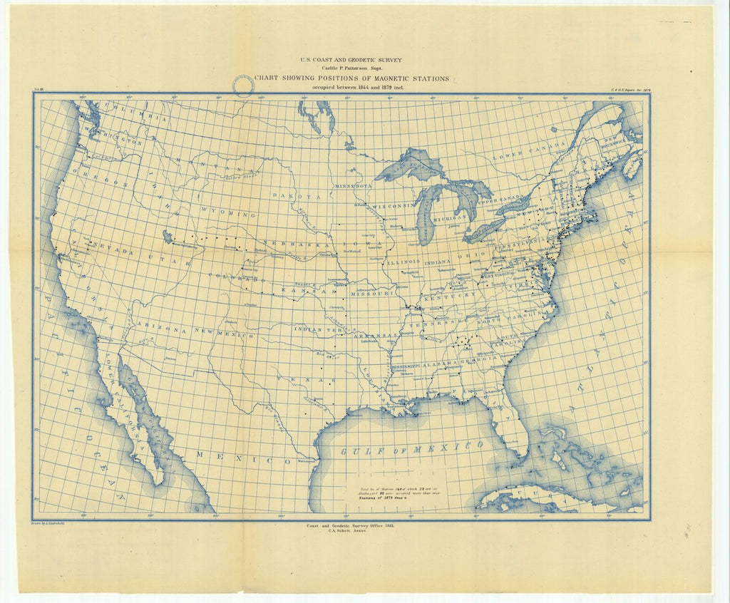 18 x 24 inch 1879 US old nautical map drawing chart of Chart Showing Positions of Magnetic Stations Occupied Between 1844 and 1879 Included From  US Coast & Geodetic Survey x113