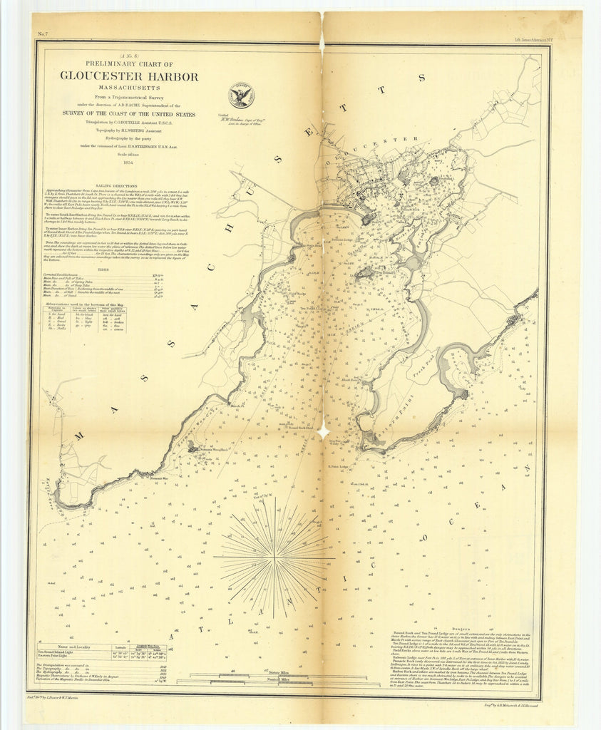 18 x 24 inch 1854 US old nautical map drawing chart of Preliminary Chart of Gloucester Harbor, Massachusetts From  U.S. Coast Survey x2708