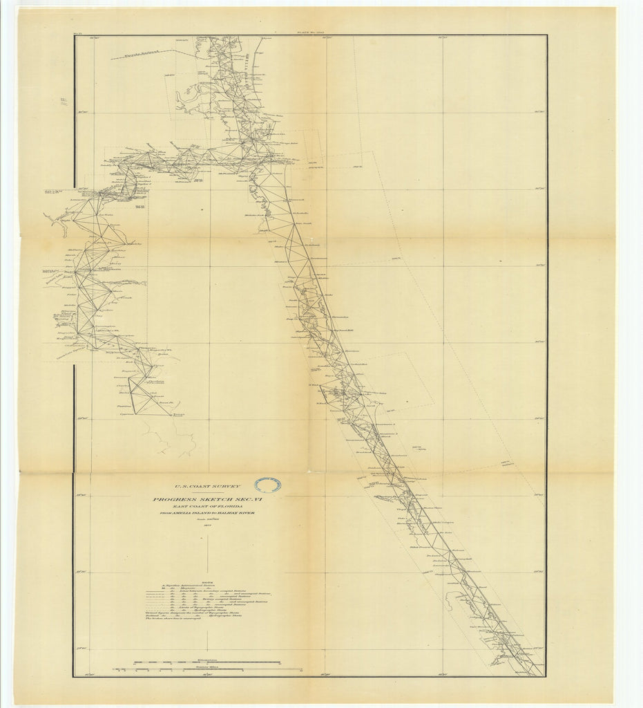 18 x 24 inch 1877 US old nautical map drawing chart of Progress Sketch, Section 6, East Coast of Florida from Amelia Island to Halifax River From  U.S. Coast Survey x2539