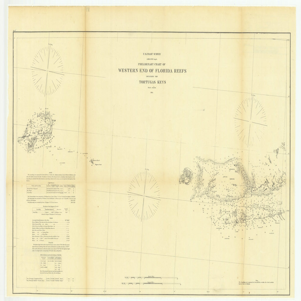 18 x 24 inch 1864 US old nautical map drawing chart of Preliminary Chart of Western End of Florida Reefs including the Tortugas Keys From  U.S. Coast Survey x2529
