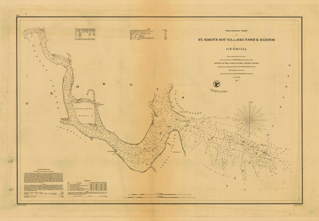 18 x 24 inch 1857 US old nautical map drawing chart of ST. SIMON'S SOUND AND BRUNSWICK HARBOR From  U.S. Coast Survey x546