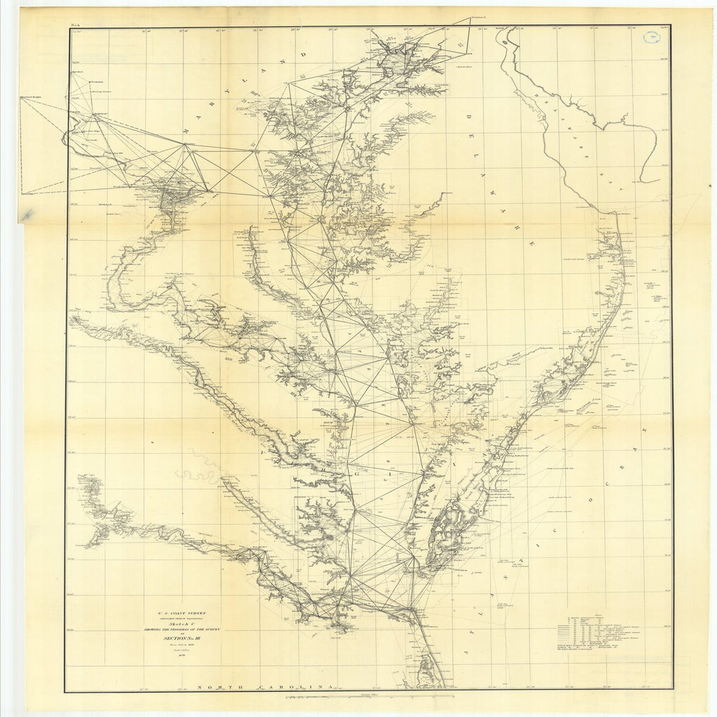 18 x 24 inch 1870 US old nautical map drawing chart of Sketch C Showing the Progress of the Survey in Section Number 3 from 1843 to 1870 From  U.S. Coast Survey x1920