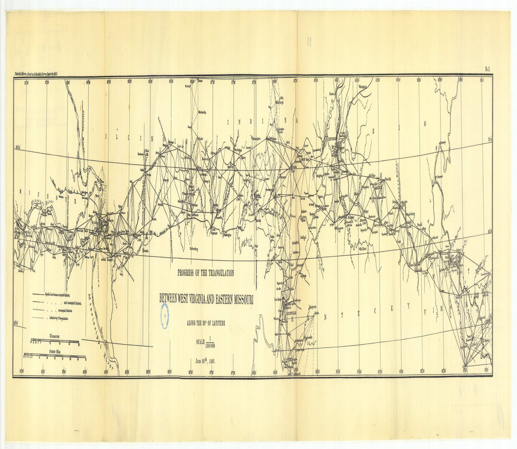 18 x 24 inch 1893 US old nautical map drawing chart of No. 11. Triangulation between West Virginia and eastern Missouri, along or near the thirty-ninth parullel From  US Coast & Geodetic Survey x2657