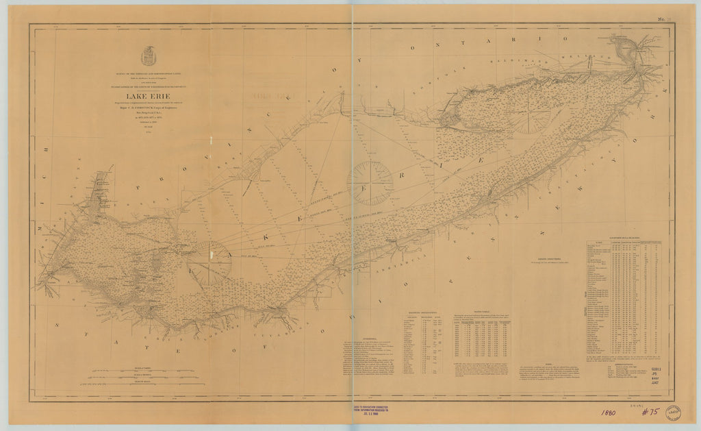 18 x 24 inch 1898 Ohio old nautical map drawing chart of LAKE ERIE From  Lake Survey x6744