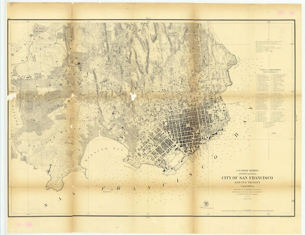 18 x 24 inch 1859 US old nautical map drawing chart of City of San Francisco and its Vicinity, California From  U.S. Coast Survey x1680