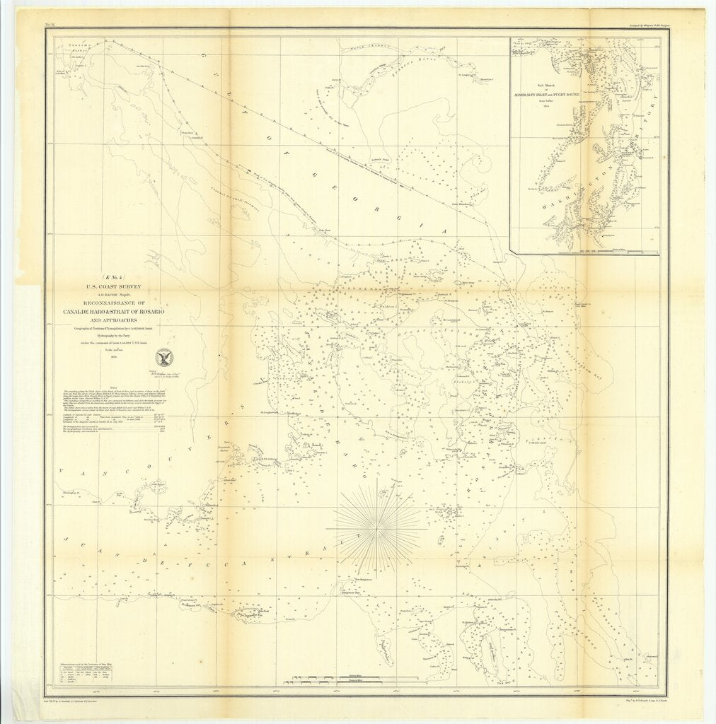 18 x 24 inch 1854 US old nautical map drawing chart of Reconnaissance of Canal de Haro and Strait of Rosario and Approaches and with Sub Sketch of Admiralty Inlet and Puget Sound From  U.S. Coast Survey x609