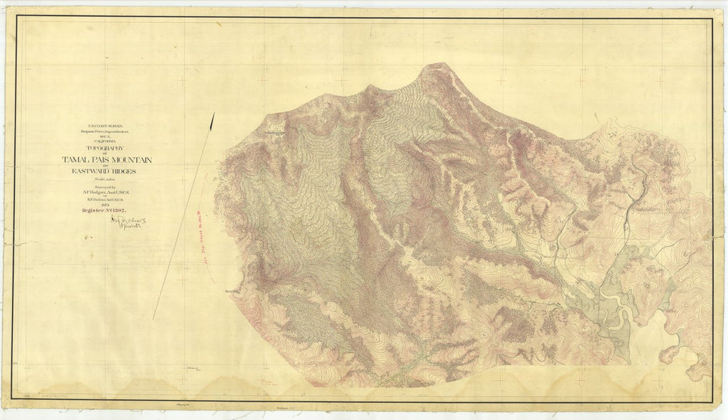 18 x 24 inch 1873 US old nautical map drawing chart of Tamalpais Mountain and Eastward Ridges, California From  U.S. Coast Survey x473
