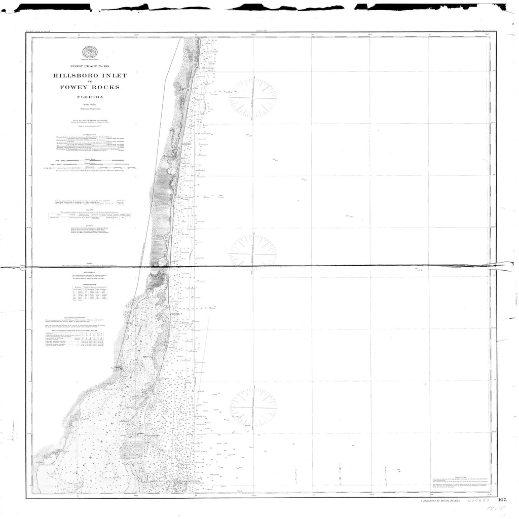 18 x 24 inch 1896 US old nautical map drawing chart of Hillsboro Inlet to Fowey Rocks From  NOAA x2484