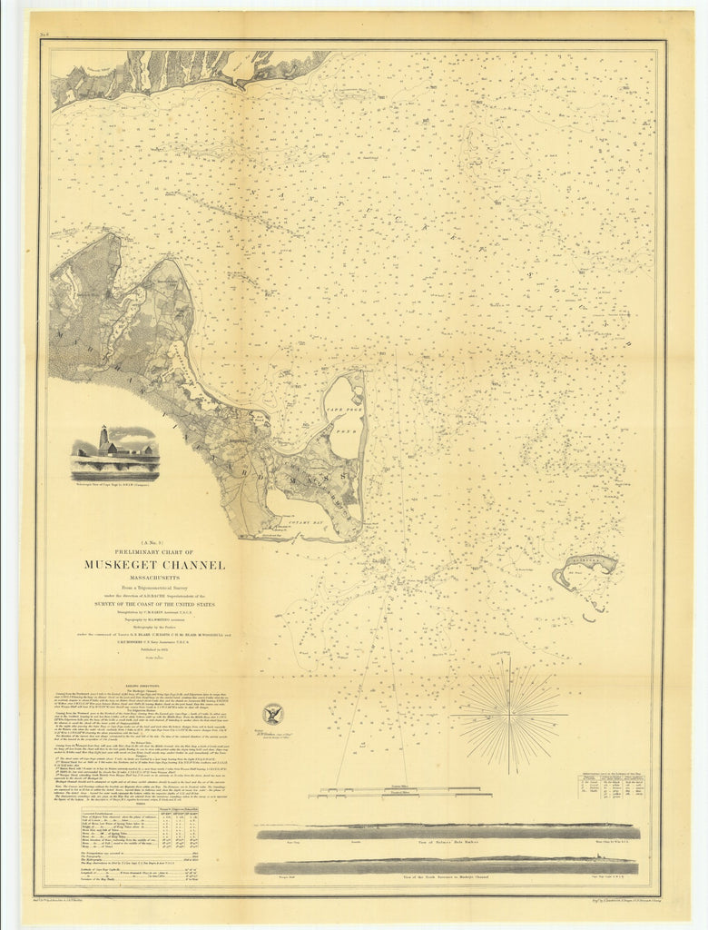 18 x 24 inch 1855 US old nautical map drawing chart of Preliminary Chart of Muskeget Channel, Massachusetts From  U.S. Coast Survey x3465