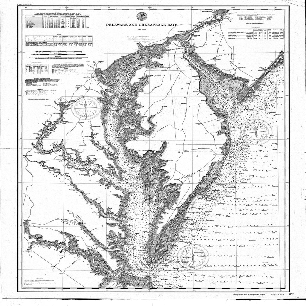 18 x 24 inch 1892 US old nautical map drawing chart of Delaware and Chesapeake Bays From  NOAA x1183