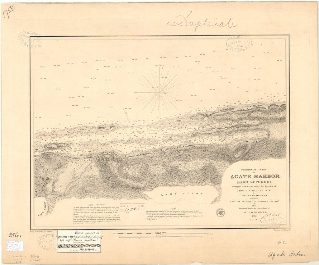 18 x 24 inch 1858 US old nautical map drawing chart of AGATE HARBOR LAKE SUPERIOR From  Lake Survey x3611
