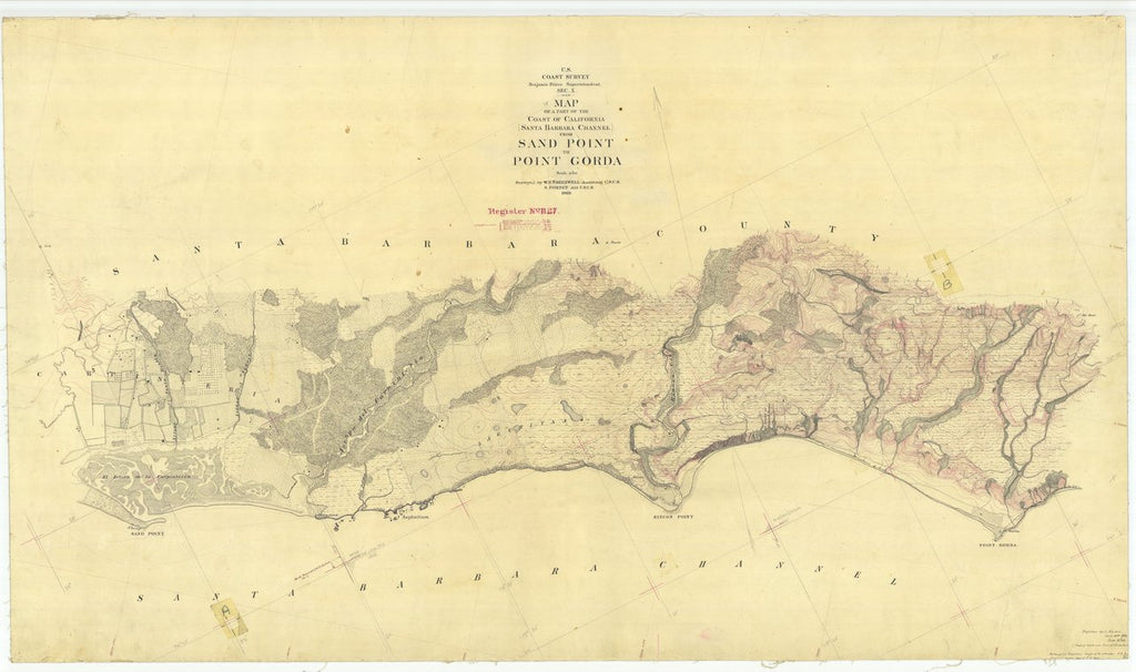 18 x 24 inch 1869 US old nautical map drawing chart of Santa Barbara Channel From Sand Point to Point Gorda From  U.S. Coast Survey x426