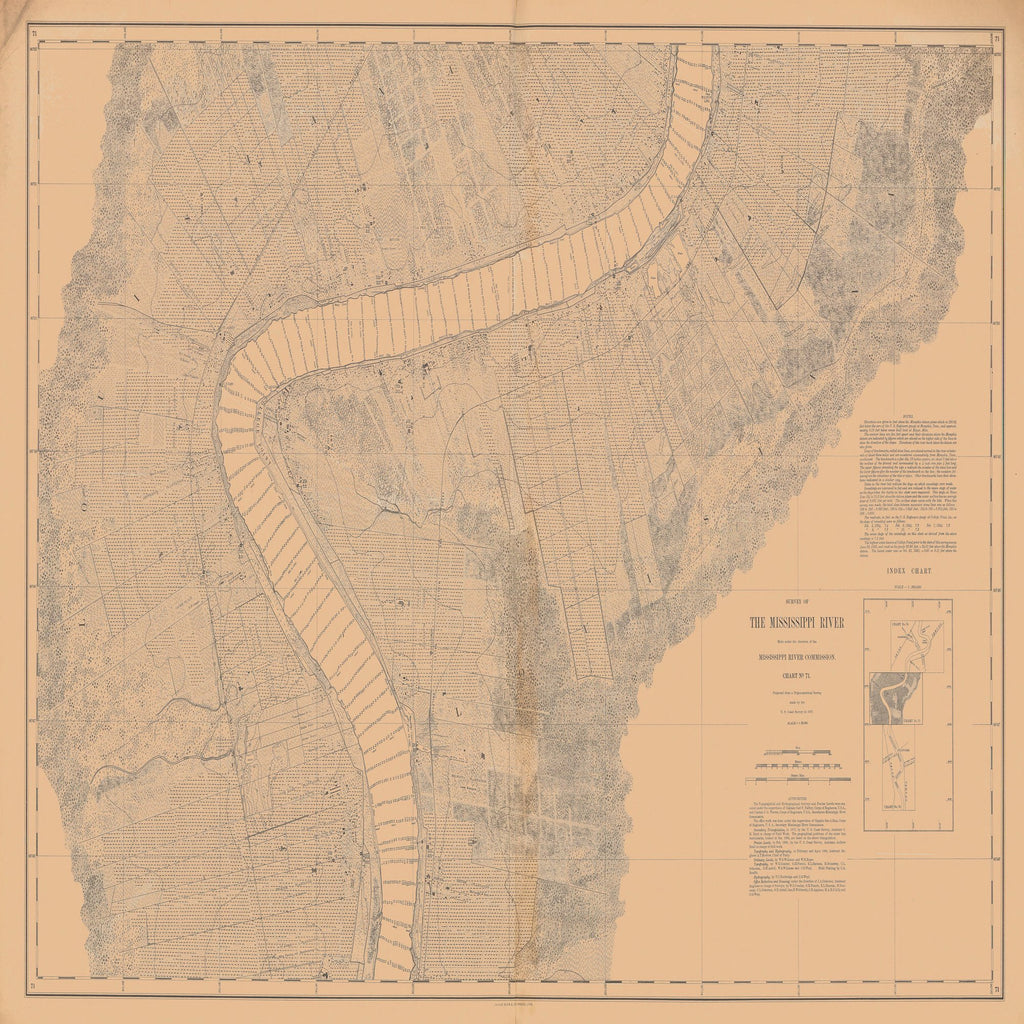 18 x 24 inch 1877 US old nautical map drawing chart of SURVEY OF THE MISSISSIPPI RIVER From  Mississippi River Commission x2328