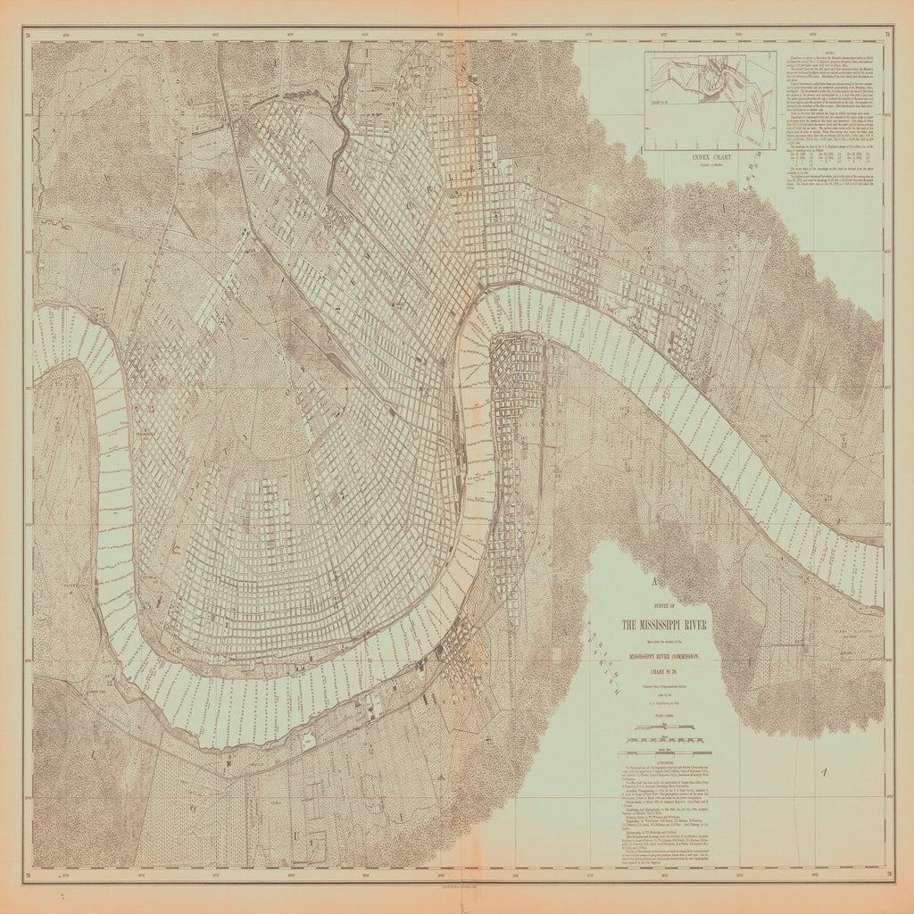 18 x 24 inch 1874 US old nautical map drawing chart of SURVEY OF THE MISSISSIPPI RIVER From  Mississippi River Commission x2315