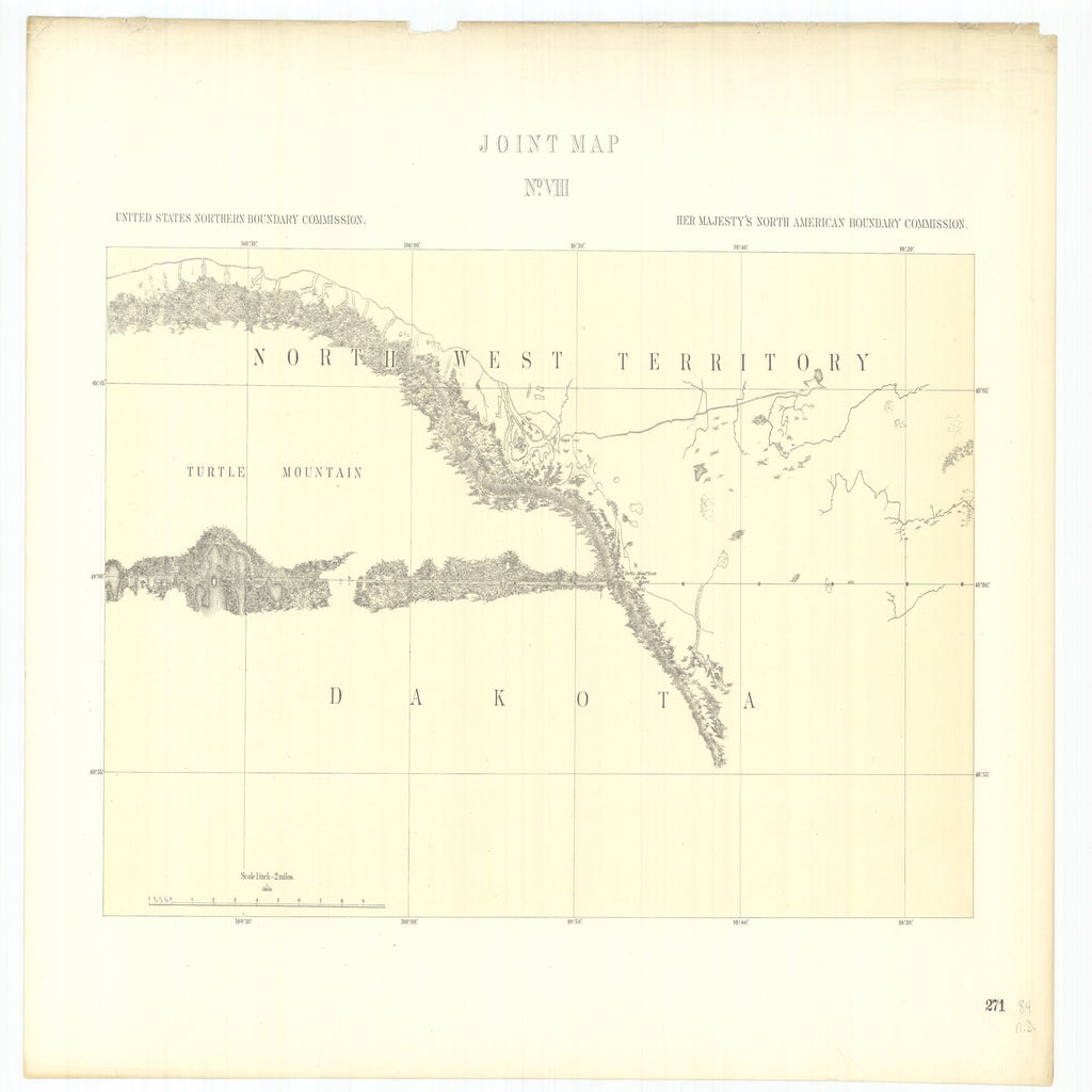 18 x 24 inch 1878 North Dakota old nautical map drawing chart of Joint Maps of the Northern Boundary of the United States from the Lake of the Woods to the Summit of the Rocky Mountains From  NORTH AMERICAN BOUNDARY COMMISSION x6584