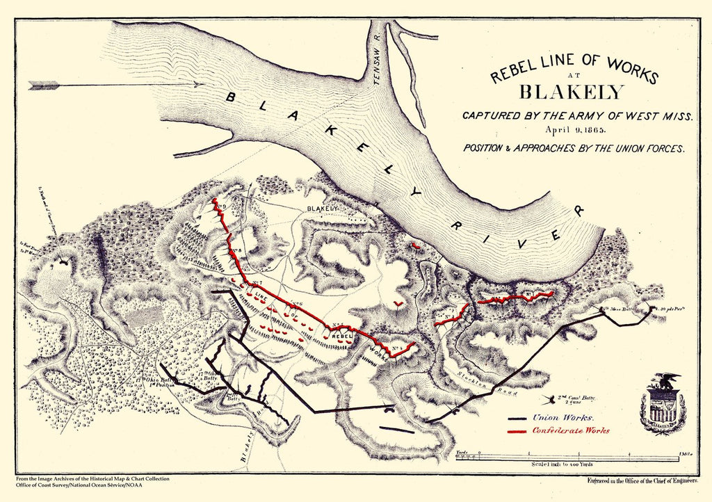 18 x 24 inch 1865 US old nautical map drawing chart of Rebel Line of Works at Blakely - 1865 From  Chief of Engineers x185