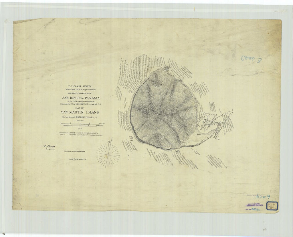 18 x 24 inch 1873 US old nautical map drawing chart of Reconnaissance From San Diego to Panama, Plan of San Martin Island From  U.S. Coast Survey x481