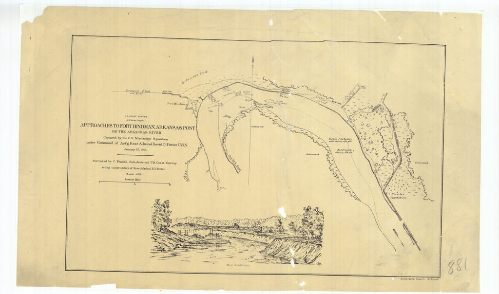 18 x 24 inch 1863 US old nautical map drawing chart of Approaches to Fort Hindman Arkansas Post on the Arkansas River From  U.S. Coast Survey x2646
