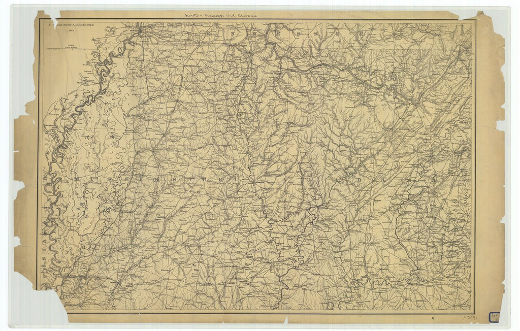 18 x 24 inch 1865 US old nautical map drawing chart of Northern Mississippi and Alabama From  U.S. Coast Survey x264