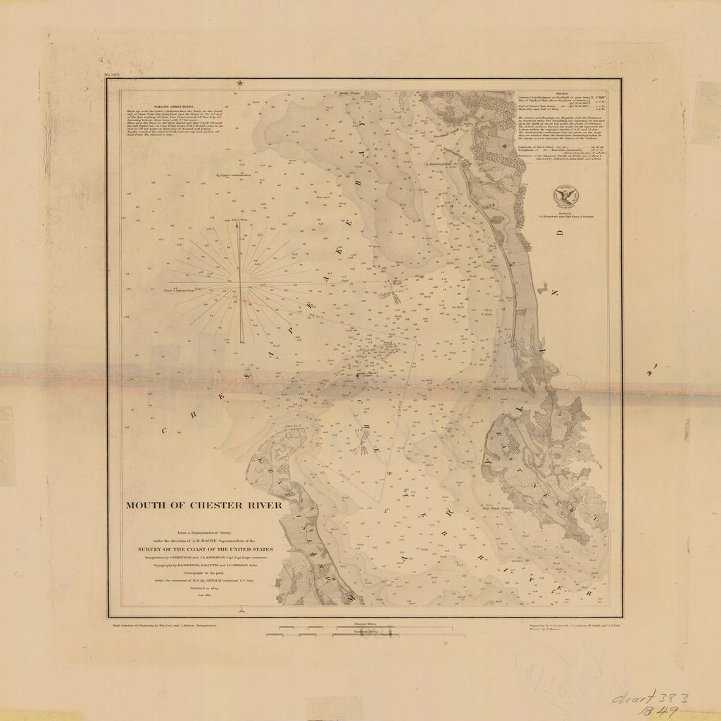 18 x 24 inch 1849 US old nautical map drawing chart of MOUTH OF CHESTER RIVER From  U.S. Coast Survey x3562