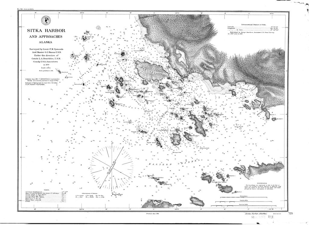 18 x 24 inch 1891 US old nautical map drawing chart of Sitka Harbor From  US Coast & Geodetic Survey x514