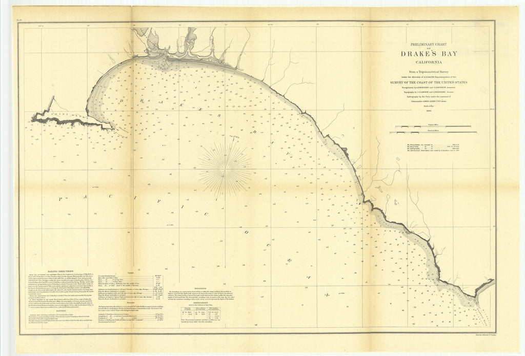 18 x 24 inch 1860 US old nautical map drawing chart of Preliminary Chart of Drake's Bay, California From  U.S. Coast Survey x5682